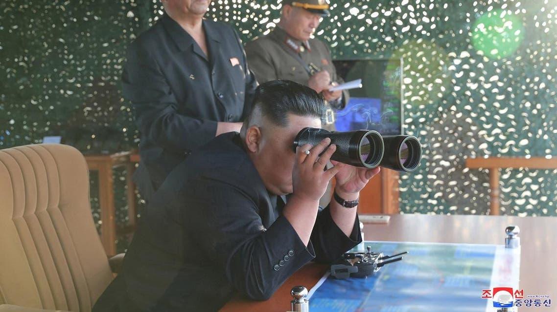 KCNA picture of North Korean leader Kim Jong Un attending the test of a multiple rocket launcher. (KCNA via Reuters)