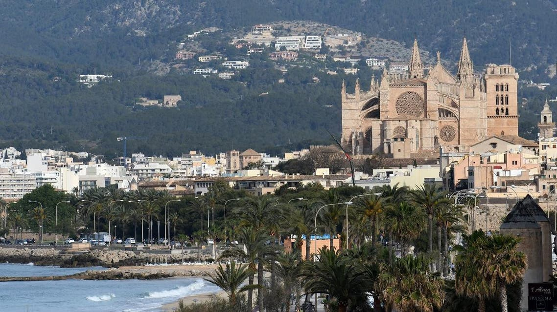 A picture taken May 9, 2019 in the Spanish Balearic island of Mallorca shows the cathedral of Palma de Mallorca. (AFP)