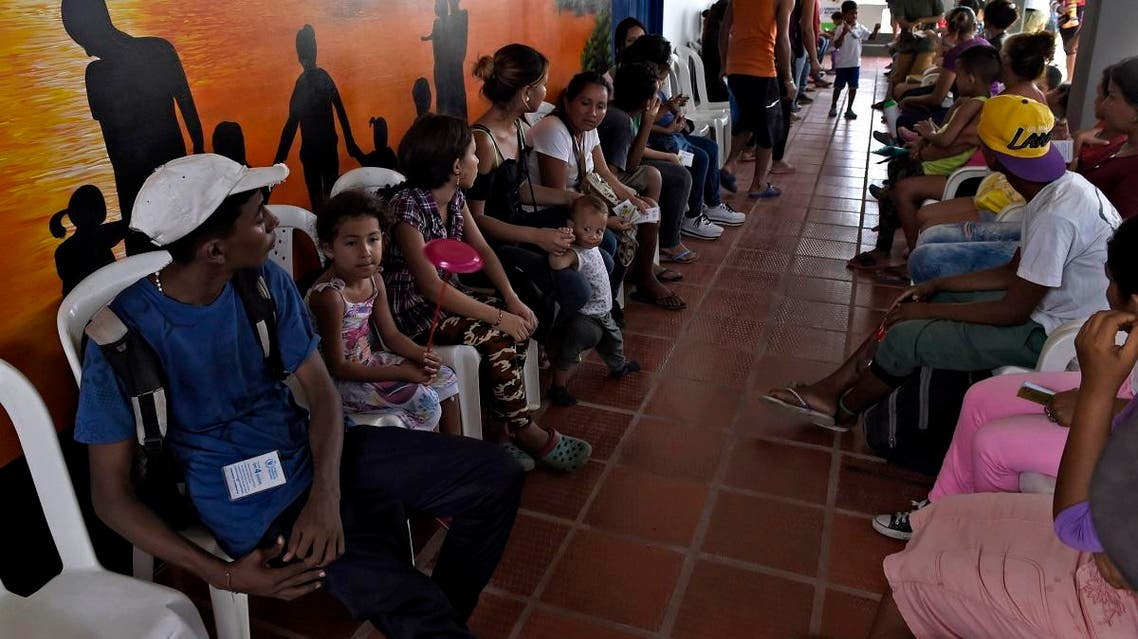 Venezuelans wait at a shelter in Arauca, Colombia, on border with Venezuela, on May 15, 2019. (AFP)