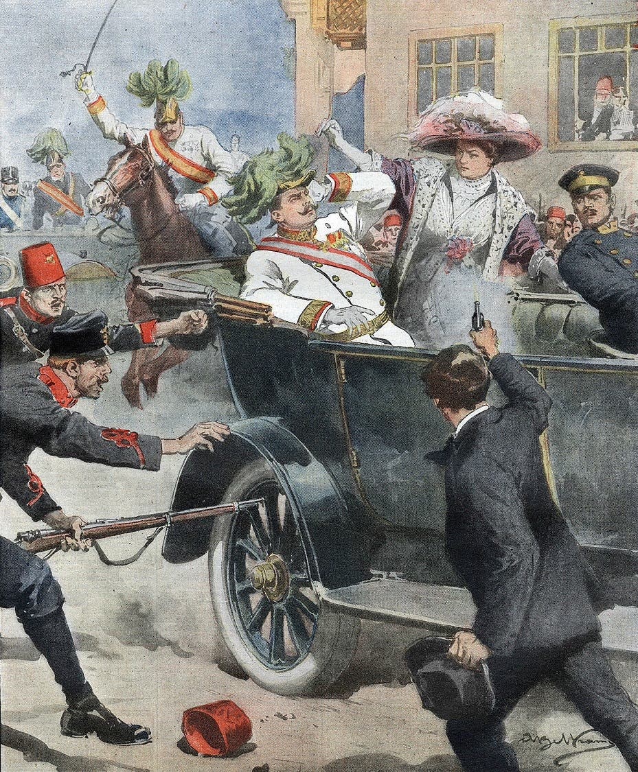 صورة تخيلية لحادثة اغتيال ولي عهد النمسا فرانز فرديناند
