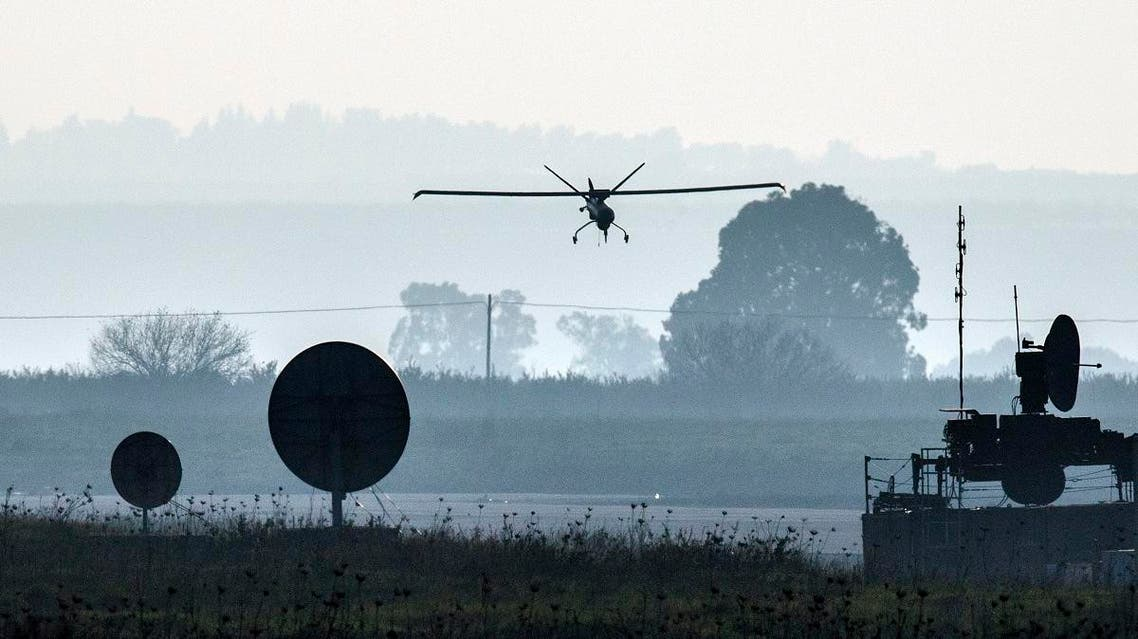 A picture shows an Israeli army UAV landing in an airfield, in the Israeli-annexed Golan Heights, on January 20, 2015. (File photo: AFP)