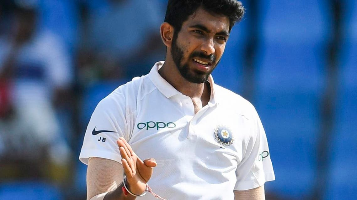 Jasprit Bumrah of India reacts during day 4 of the 1st Test between West Indies and India at Vivian Richards Cricket Stadium in North Sound, Antigua and Barbuda, on August 25, 2019. (AFP)