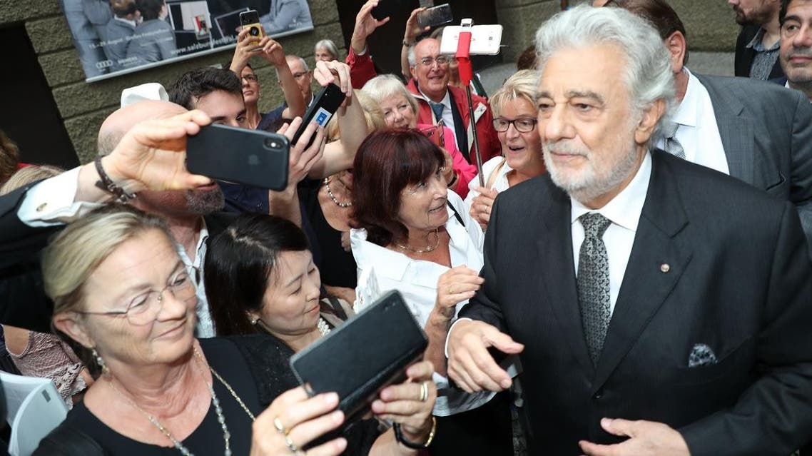 """Spanish opera singer Placido Domingo is seen after the performance of """"Luisa Miller"""" at the Salzburg Festival, on August 25 2019 in Salzburg. (AFP)"""