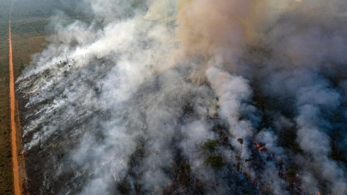 An aerial view of forest fire of the Amazon taken with a drone is seen from an Indigenous territory in the state of Mato Grosso (Reuters)