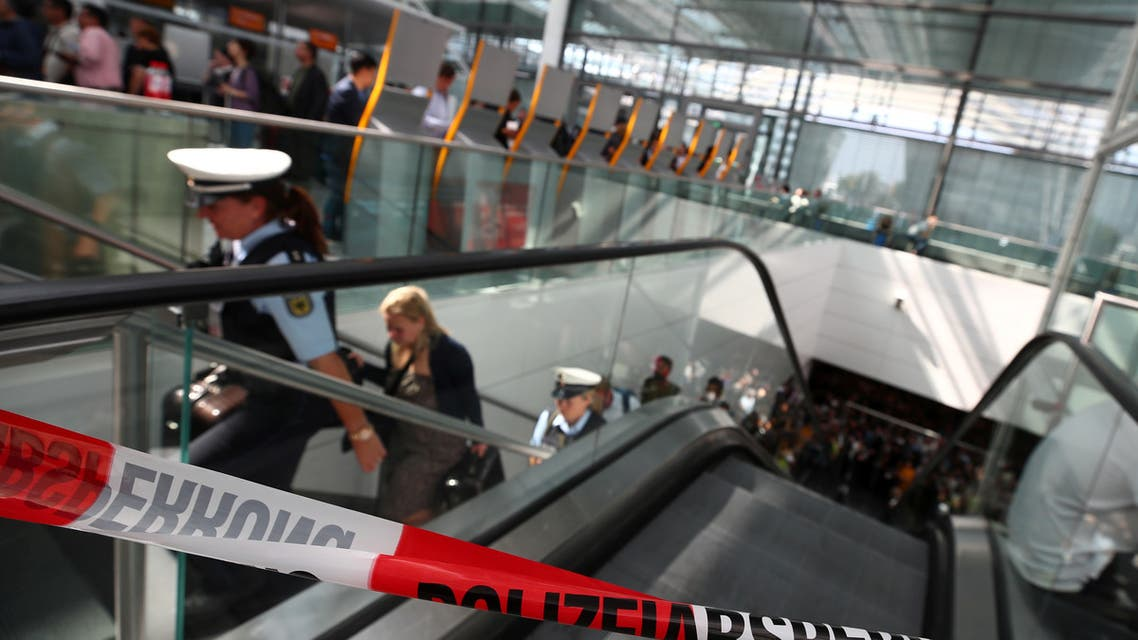 A police cordon is seen at Terminal 2, after it was temporarily closed due to a police operation, at Munich's international Airport, Germany, August 27, 2019. REUTERS/Michael Dalder