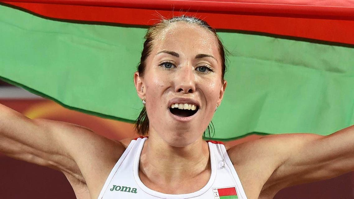 Belarus's Marina Arzamasova celebrates winning the final of the women's 800 metres athletics event at the 2015 IAAF World Championships. (AFP)
