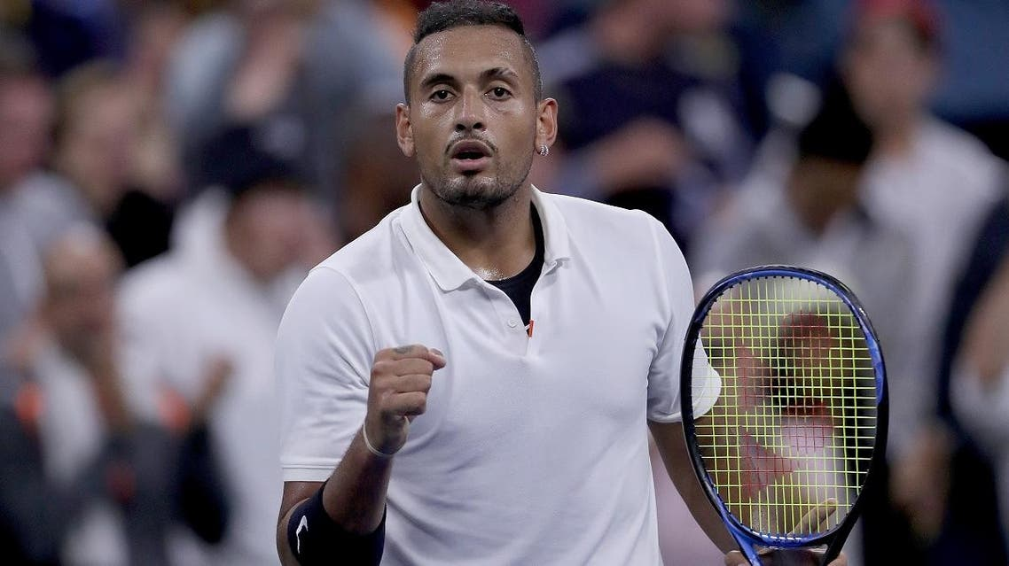 Nick Kyrgios of Australia celebrates his win during his Men's Singles first round match against Steve Johnson of the US on day two of the 2019 US Open on August 27, 2019. (AFP)