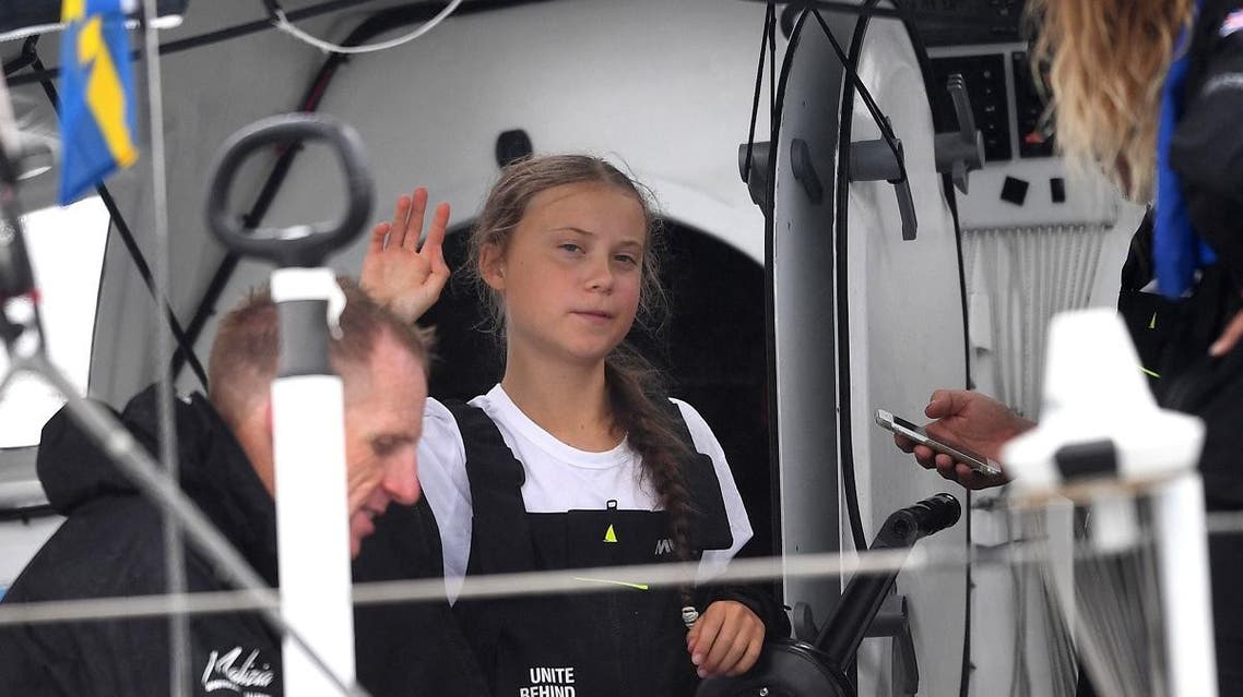 Swedish climate activist Greta Thunberg, 16, arrives in the US after a 15-day journey crossing the Atlantic in the Malizia II, a zero-carbon yacht, on August 28, 2019 in New York. (AFP)