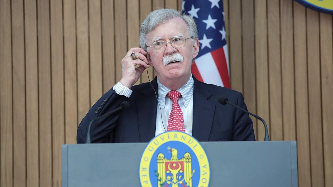 US National Security Advisor John Bolton attends a news conference after a meeting with Moldova's Prime Minister Maia Sandu in Chisinau, Moldova August 29, 2019. (Reuters)