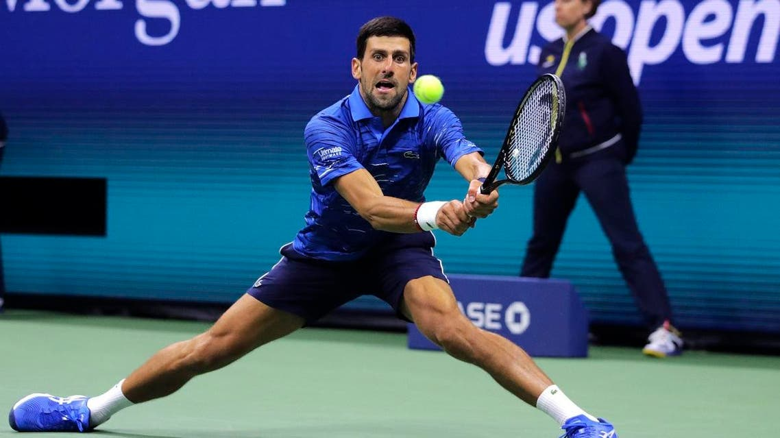 Novak Djokovic, of Serbia, returns to Juan Ignacio Londero, of Argentina, during the second round of the US Open. (AP)
