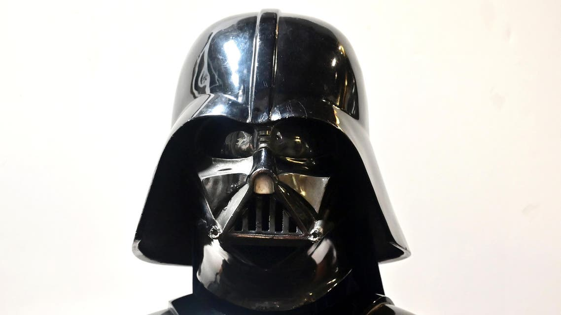 "A Darth Vader helmet and mask from the film ""The Empire Strikes Back"" on display at the Profiles in History auction house on August 28, 2019 (AFP)"