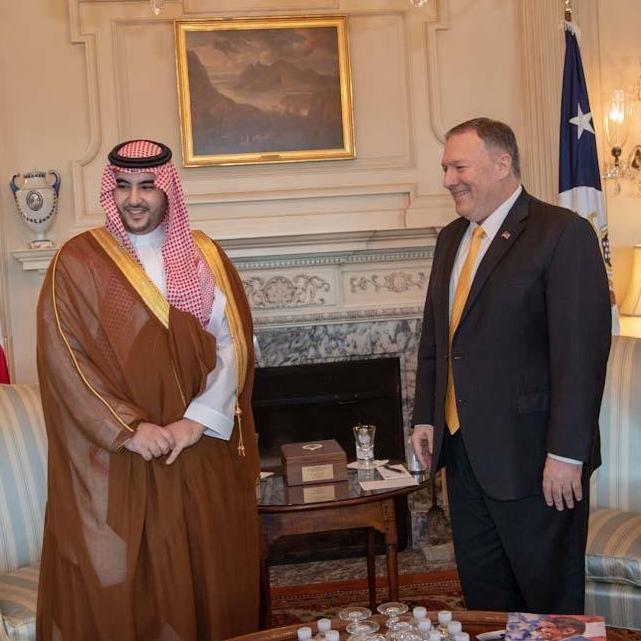 بومبيو ونائب وزير الدفاع السعودي يشددان على أهمية تعزيز أمن الملاحة