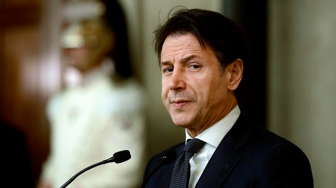 Italy's Prime Minister Giuseppe Conte addresses the media following a meeting with the Italian president, after he was given a mandate to form a new government, on August 29, 2019 at the Quirinal presidential palace in Rome. (AFP)