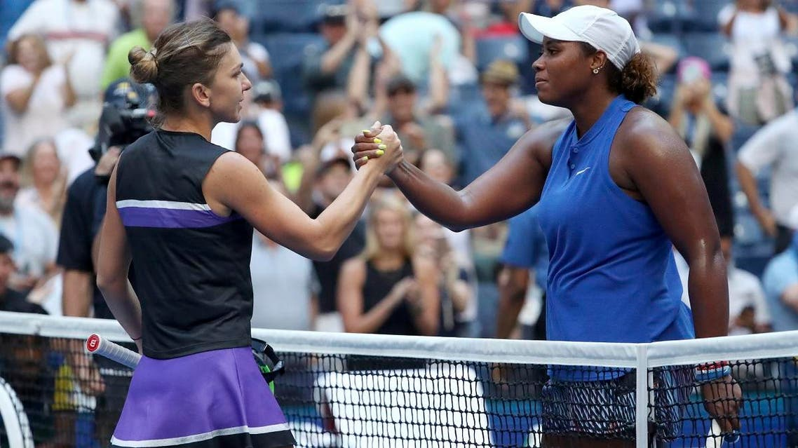 Simona Halep (left), congratulates Taylor Townsend, after Townsend won their second round match of the US Open tennis championships on August 29, 2019, in New York. (AP)