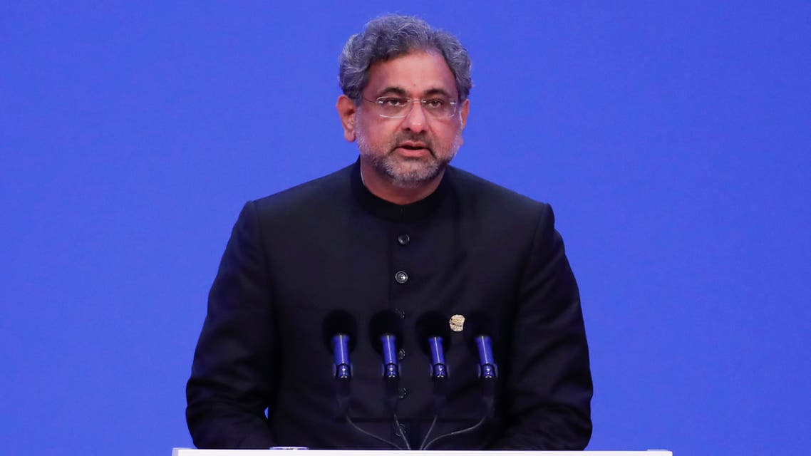 Pakistan's Prime Minister Shahid Khaqan Abbasi speaks during the opening of the Boao Forum for Asia (BFA) Annual Conference 2018 in Boao, south China's Hainan province on April 10, 2018. The BFA annual conference 2018 takes place between April 8-11.