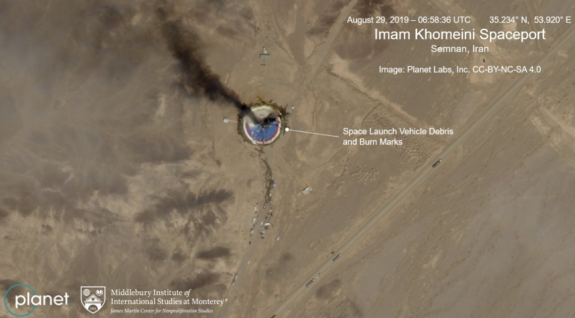 This satellite image from Planet Labs Inc., that has been annotated by experts at the James Martin Center for Nonproliferation Studies at Middlebury Institute of International Studies, shows a fire at a rocket launch pad at the Khomeini Space Center in Iran's Semnan province, Thursday Aug. 29, 2019. (Planet Labs Inc, Middlebury Institute of International Studies via AP)