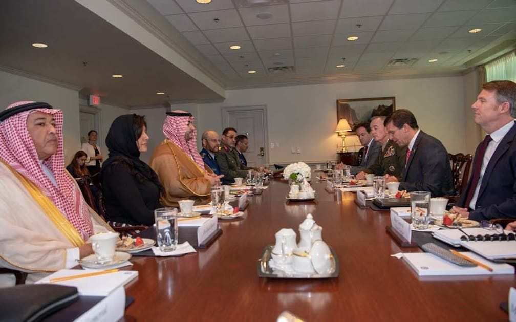 Prince Khalid in talks with Esper at the Pentagon. (SPA)