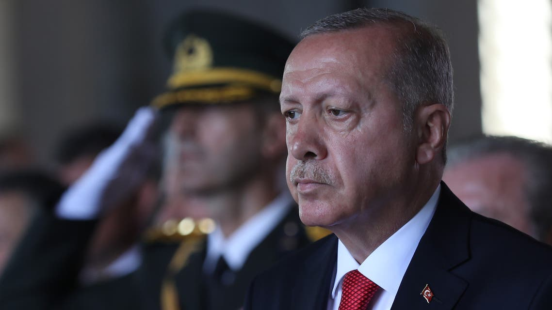 President of Turkey, Recep Tayyip Erdogan looks on as he visits Anitkabir, mausoleum of Turkish Republic founder Mustafa Kemal Ataturk, on the 97th Victory Day in Ankara, commemorating a decisive battle in the Turkish War of Independence, on August 30, 2019.