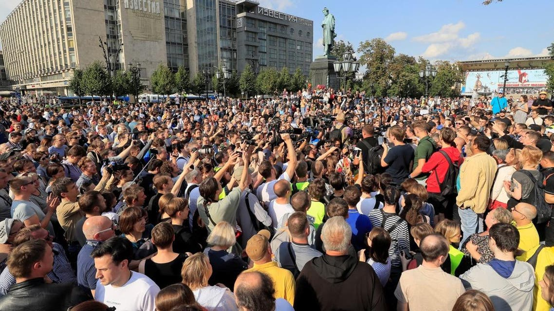 People attend a rally to demand authorities allow opposition candidates to run in the upcoming local election and release protesters, who were detained during recent demonstrations, in Moscow, Russia August 31, 2019. (Reuters)