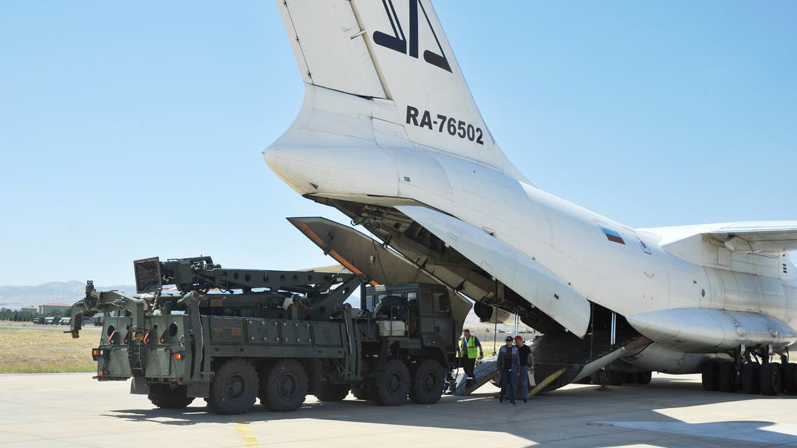 A part of a Russian S-400 defense system is seen after unloaded from a Russian plane at Murted Airport near Ankara, Turkey, August 27, 2019. Turkish Military/Turkish Defence Ministry/Handout via REUTERS ATTENTION EDITORS - THIS PICTURE WAS PROVIDED BY A THIRD PARTY. NO RESALES. NO ARCHIVE