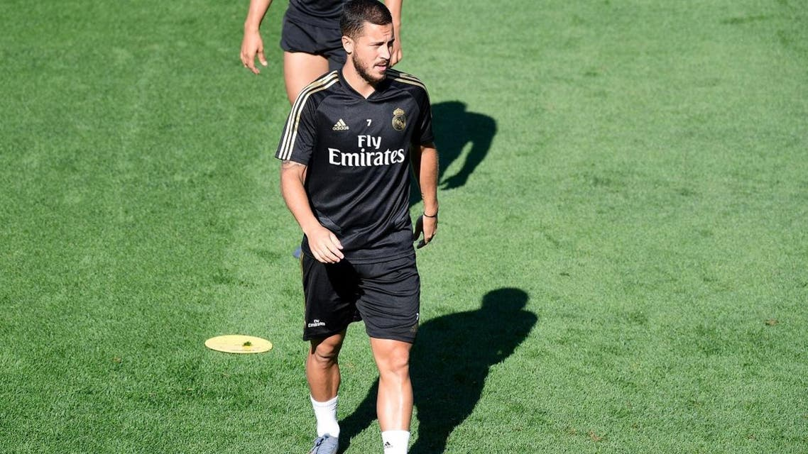 Real Madrid's Belgian forward Eden Hazard takes part in a training session at Real Madrid's sport city in Madrid on August 16, 2019.  (AFP)