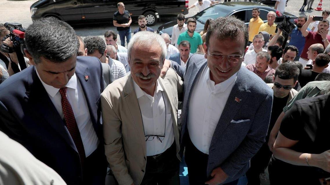 Mayor of Istanbul Ekrem Imamoglu visits dismissed Diyarbakir Mayor Selcuk Mizrakli in Diyarbakir. (Reuters)