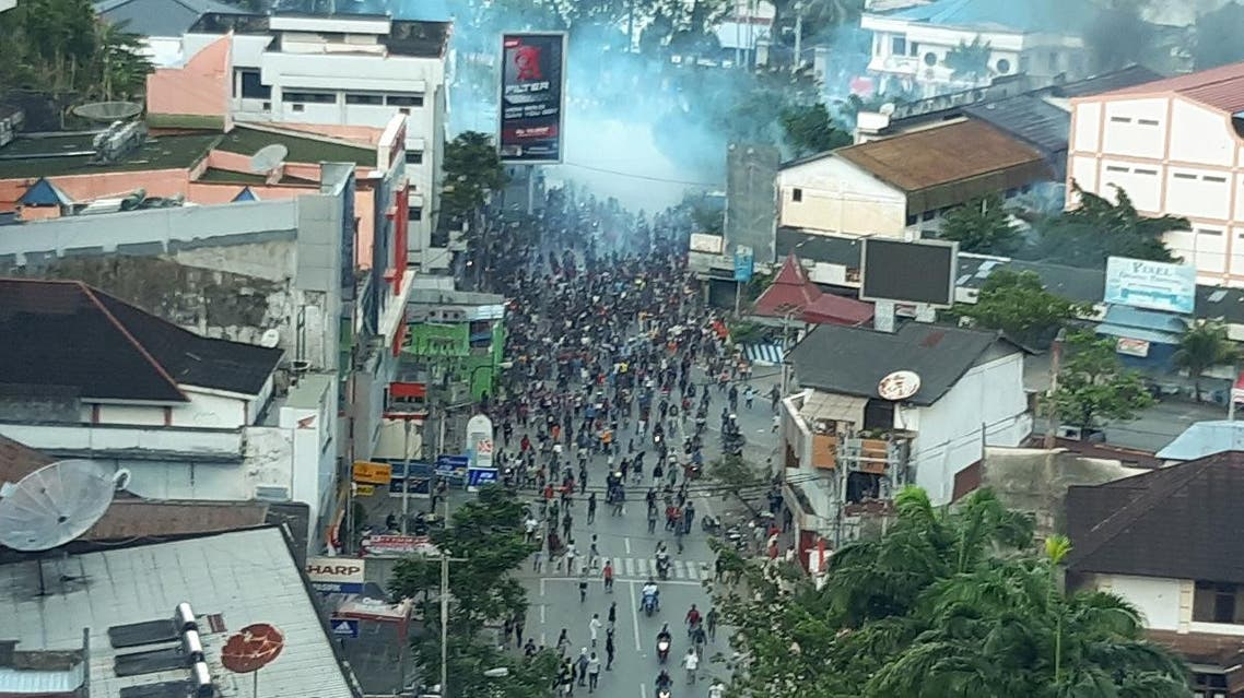 A general view of clashes during a protest in Jayapura, Papua Indonesia. (Reuters)