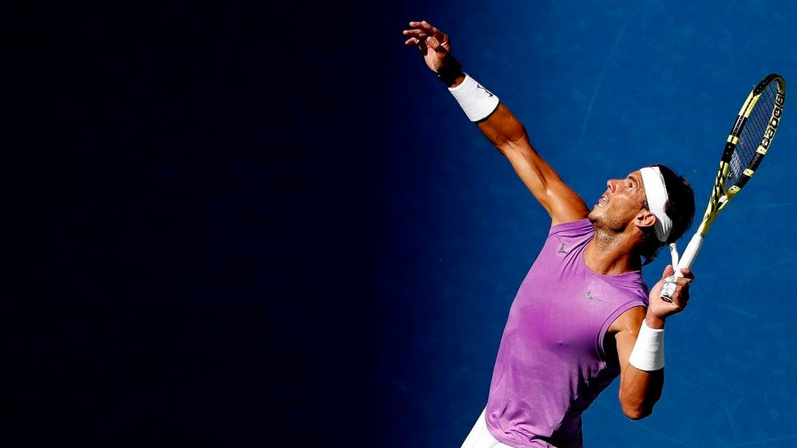 Rafael Nadal serves against Hyeon Chung in the third round on day six of the US Open. (Reuters)