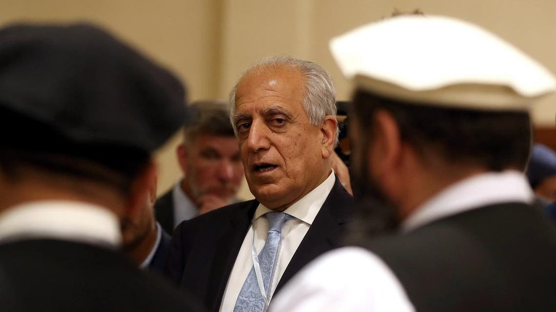 US Special Representative for Afghanistan Reconciliation Zalmay Khalilzad attends the Intra Afghan Dialogue talks in the Qatari capital Doha. (AFP)
