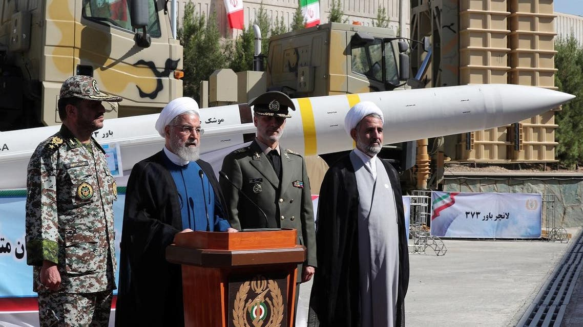 Iranian President Hassan Rouhani attends unveiling ceremony for Bavar-373 system in Tehran. (Reuters)