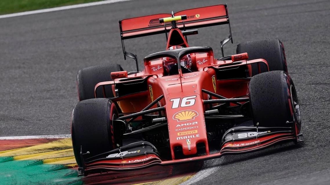 Ferrari's Monegasque driver Charles Leclerc competes during the Belgian Formula One Grand Prix at the Spa-Francorchamps circuit in Spa on September 1, 2019. (AFP)