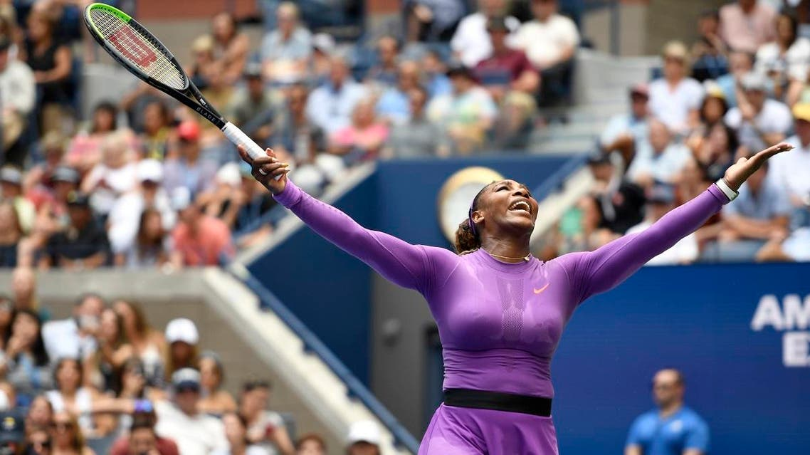 Serena Williams reacts during round three of the US Open tennis championships against Karolina Muchova. (AFP)