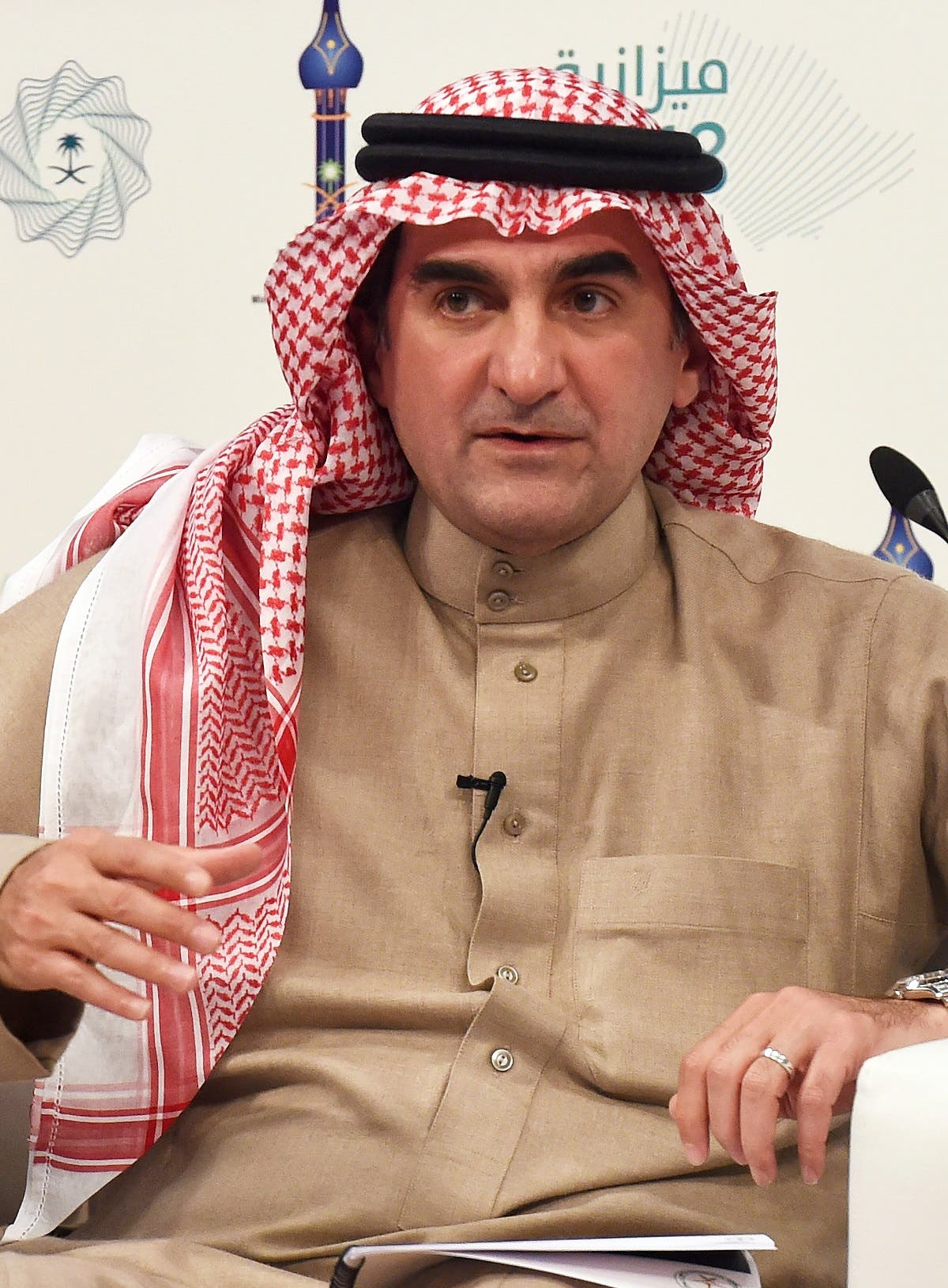 Saudi managing director of the Public Investment Fund Yasir Al-Rumayyan speaks during a press conference on the State Budget 2018 at the Saudi Press Agency (SPA) offices in Riyadh, on December 20, 2017. (AFP)