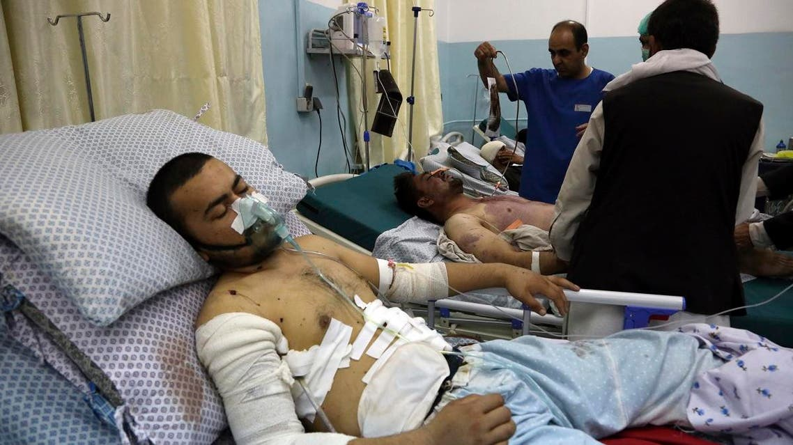 Wounded men receive treatment in a hospital after a large explosion in Kabul, Afghanistan, on September 2, 2019. (AFP)