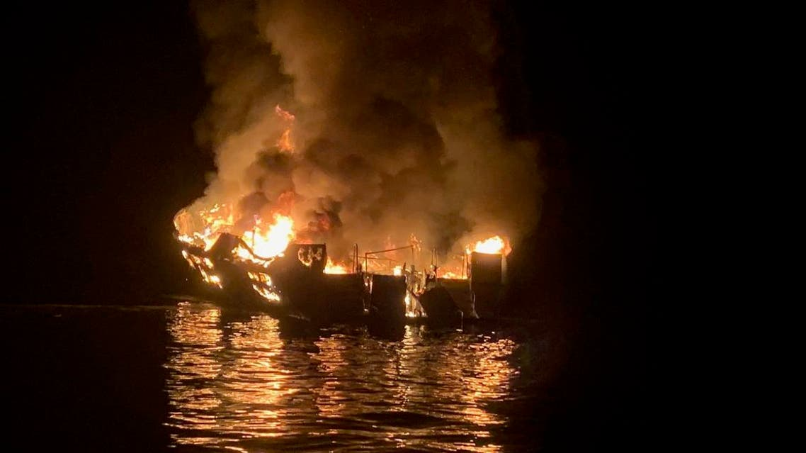 In this photo released by the Santa Barbara County Fire Department on September 2, 2019, A boat burns off the coast of Santa Cruz Island, California. (AFP)