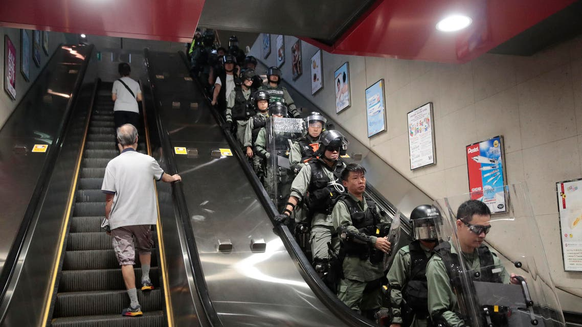 Riot police is deployed at a subway station in Hong Kong, on Monday, Sept. 2, 2019. (AP)