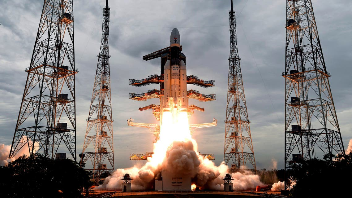 This photo released by the Indian Space Research Organization (ISRO) shows its Geosynchronous Satellite launch Vehicle (GSLV) MkIII carrying Chandrayaan-2 lift off from Satish Dhawan Space center in Sriharikota, India, Monday, July 22, 2019. (AP)