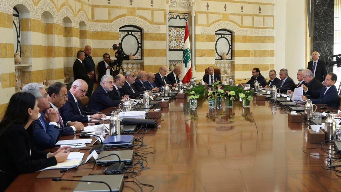 Lebanese President Michel Aoun, center, meets with political leaders with the aim of finding solutions to the country's economic crisis, in the presidential palace, in Baabda, east of Beirut, Lebanon, Monday, Sept. 2, 2019. (AP)