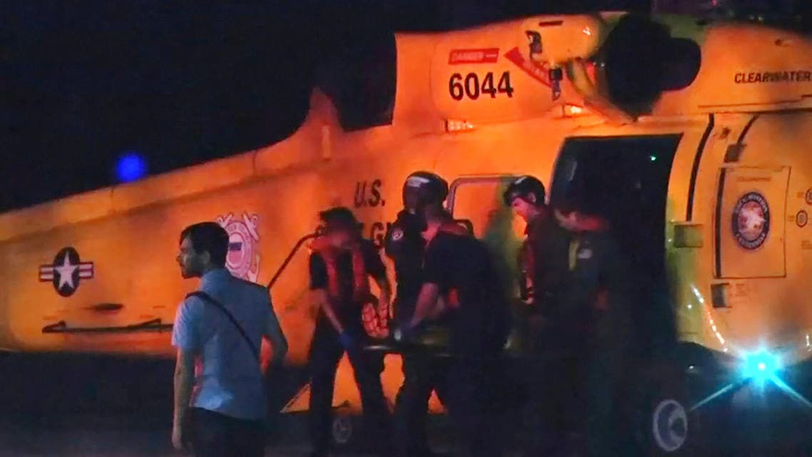 Injured people from a clinic in Great Abaco Island's Marsh Harbour arrive after being evacuated in a U.S. Coast Guard helicopter to be treated in Nassau, Bahamas in a still image from video September 2, 2019. REUTERS
