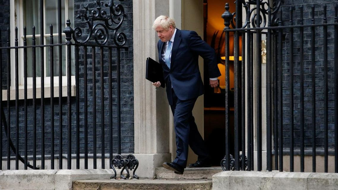 Britain's Prime Minister Boris Johnson arrives to deliver a speech outside Downing Street in London, Britain September 2, 2019. (Reuters)