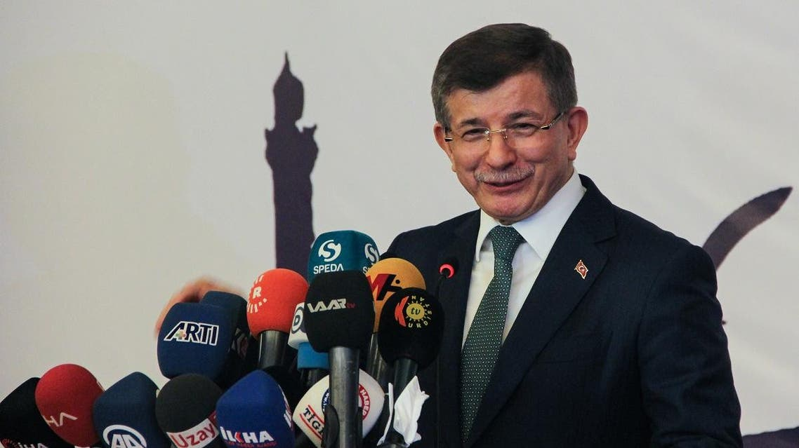 Former prime minister Ahmet Davutoglu speaks during the holy month of Ramadan in Diyarbakir on May 27, 2019. (AFP)