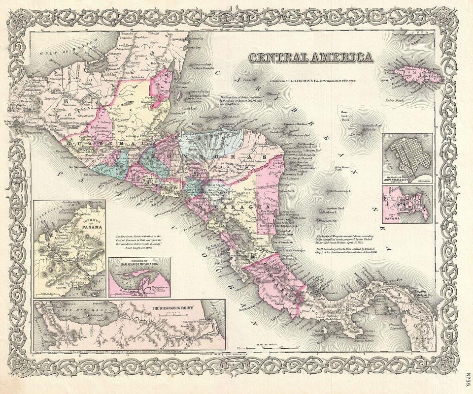 خريطة تعود لمنتصف القرن 19 لأميركا الوسطى