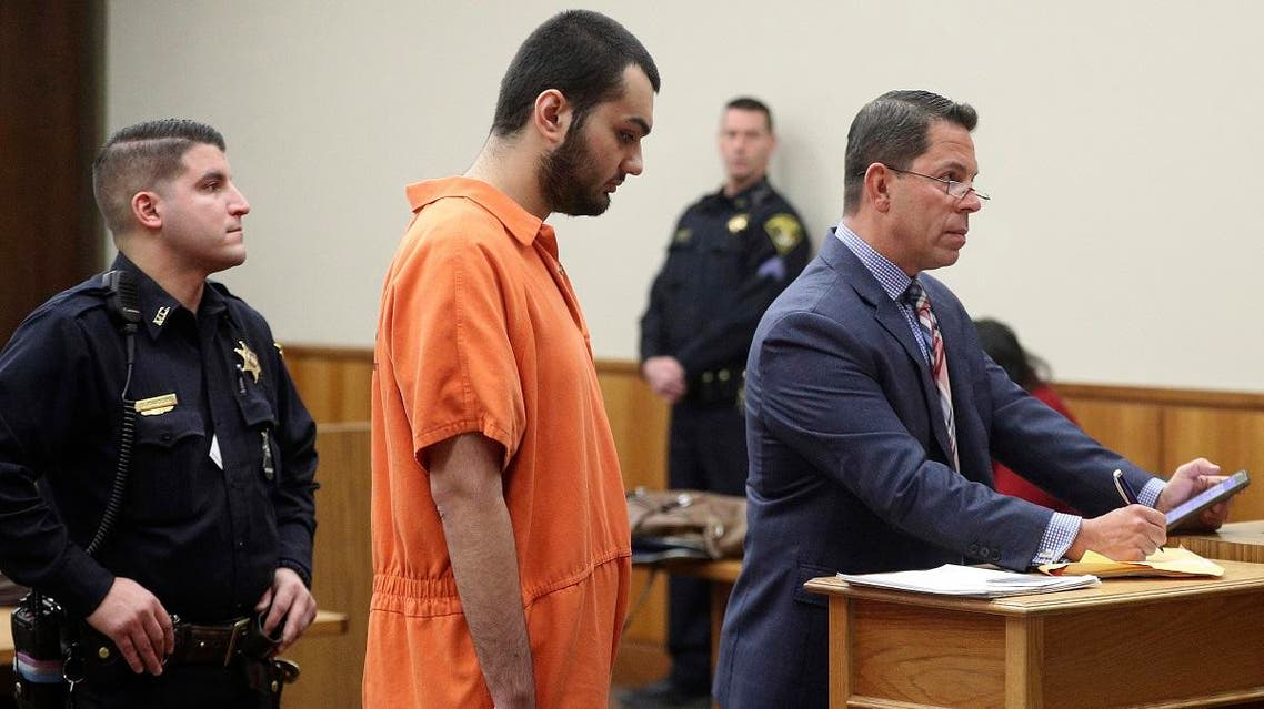 Vincent Vetromile, center, appears in court with his attorney Stephen Sercu, right, in Rochester, N.Y. Vetromile, who had pleaded guilty to a weapons charge in the plot to bomb a Muslim community, was sentenced to seven years in prison, Tuesday, Sept. 3, 2019. (AP)
