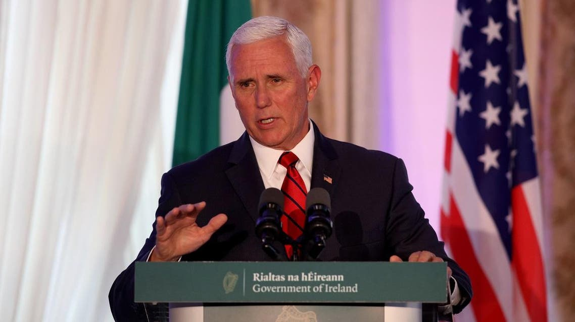 US Vice President Mike Pence speaks to members of the media after holding talks with Irish Prime Minister Leo Varadkar at Famleigh House in Phoenix Park, Dublin. (AFP)