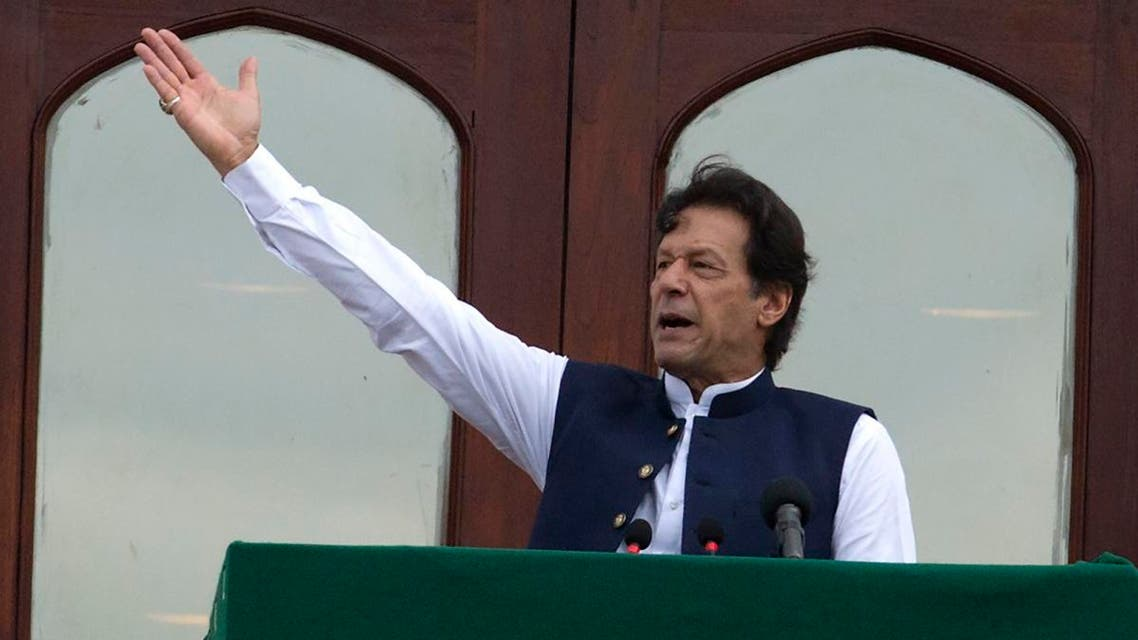 Pakistani Prime Minister Imran Khan addresses a Kashmir rally at the Prime Minister office in Islamabad, Pakistan, on August 30, 2019. (AP)
