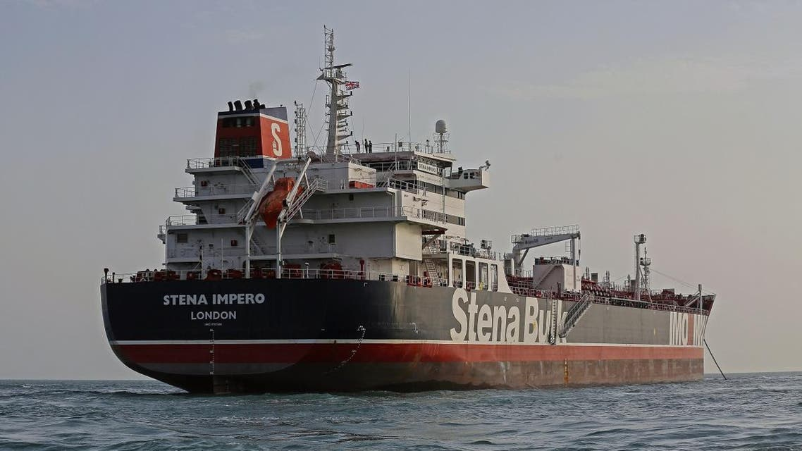 A picture taken on July 21, 2019, shows the British-flagged tanker Stena Impero anchored off the Iranian port city of Bandar Abbas. (AFP)