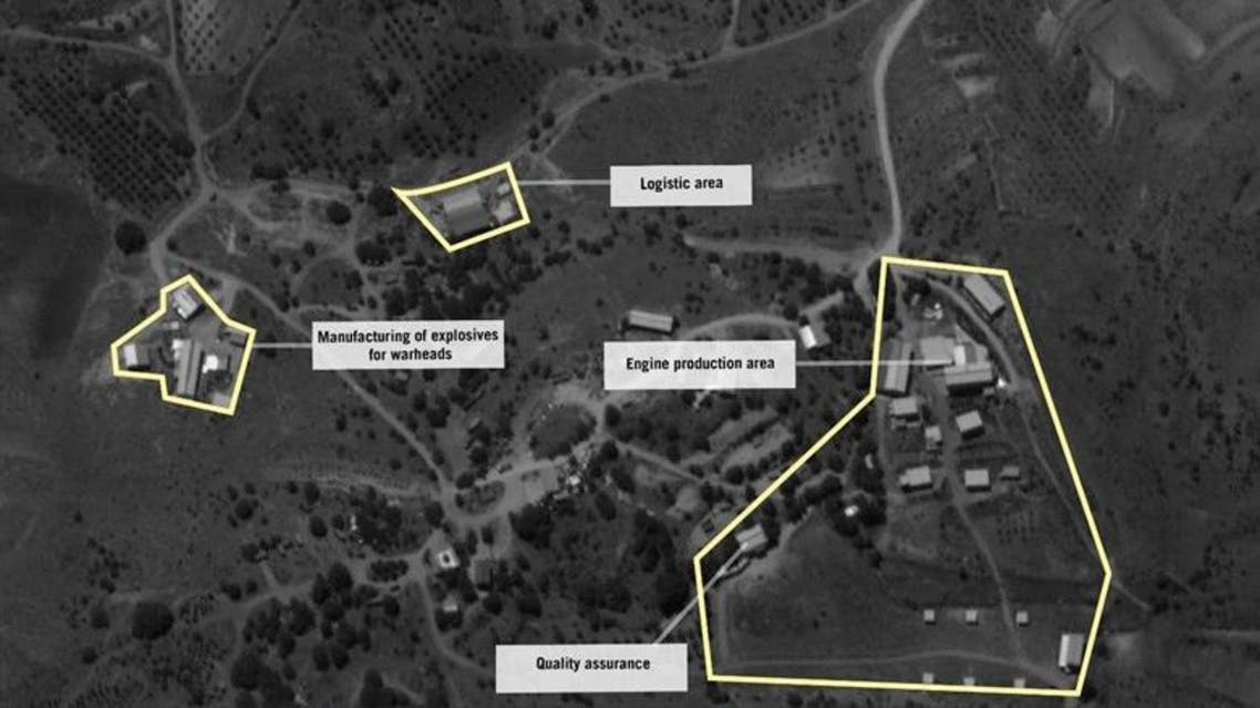 """A handout aerial image released by the Israeli Defence Forces on September 3, 2019 shows what the IDF says is a site dedicated to the manufacture of """"precision-guided"""" missiles belonging to Hezbollah in Lebanon's Bekaa Valley, near the town of Nabi Chit. (AFP)"""
