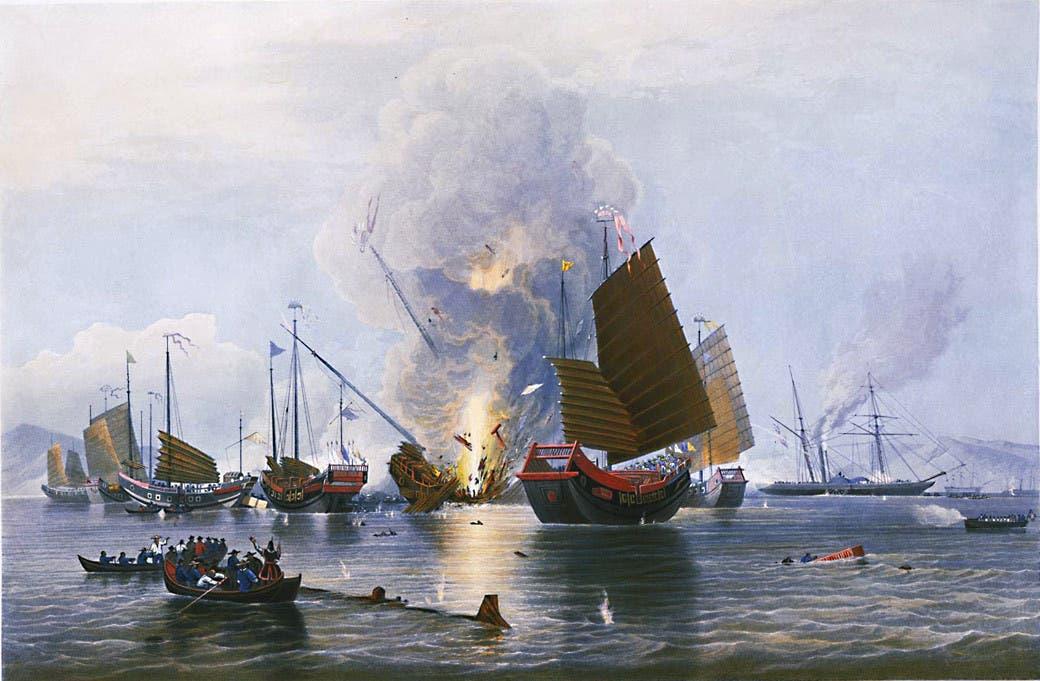 لوحة تجسد إحدى المعارك بحرب الأفيون الأولى