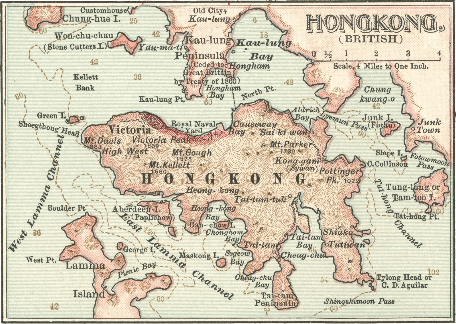 خريطة قديمة لهونغ كونغ عقب سيطرة البريطانيين عليها