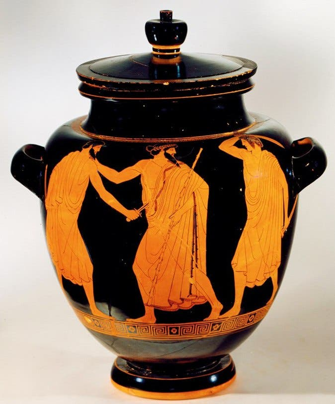 رسم تخيلي على جرّة يجسد عملية اغتيال هيبارخوس